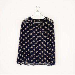 Mink Pink Sheer Navy + Polka Dot Button Up Blouse